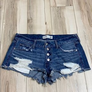 Abercrombie Distressed Low Rise Shorts Button Fly